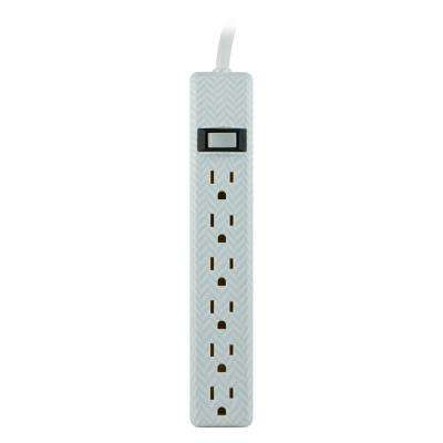4 ft. 6-Outlet Low Profile Power Strip, Herringbone