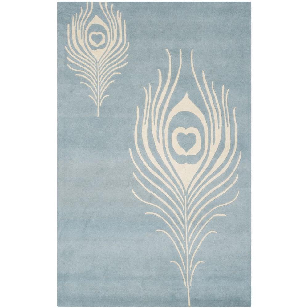 Soho Light Blue/Ivory 5 ft. x 8 ft. Area Rug