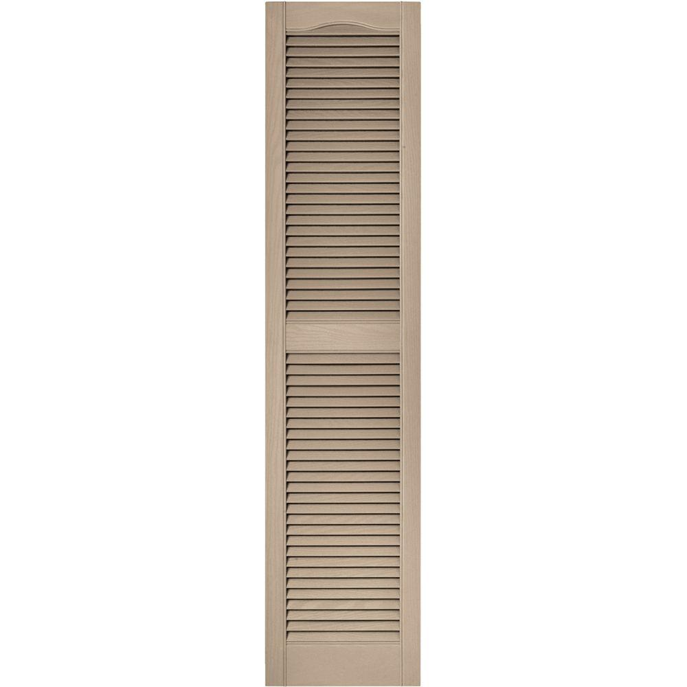 Builders Edge 15 in. x 64 in. Louvered Vinyl Exterior Shutters Pair in #023 Wicker