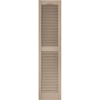 15 in. x 64 in. Louvered Vinyl Exterior Shutters Pair in #023 Wicker