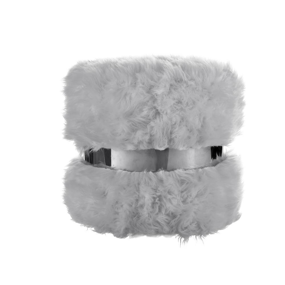 Hassan Grey/Silver Faux Fur Round Ottoman