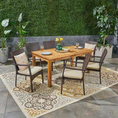 Davenport Multi-Brown 7-Piece Wood and Wicker Outdoor Dining Set with Cream Cushions