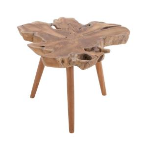 Brown Teak Wood Burl Accent Table with Tripod Legs by