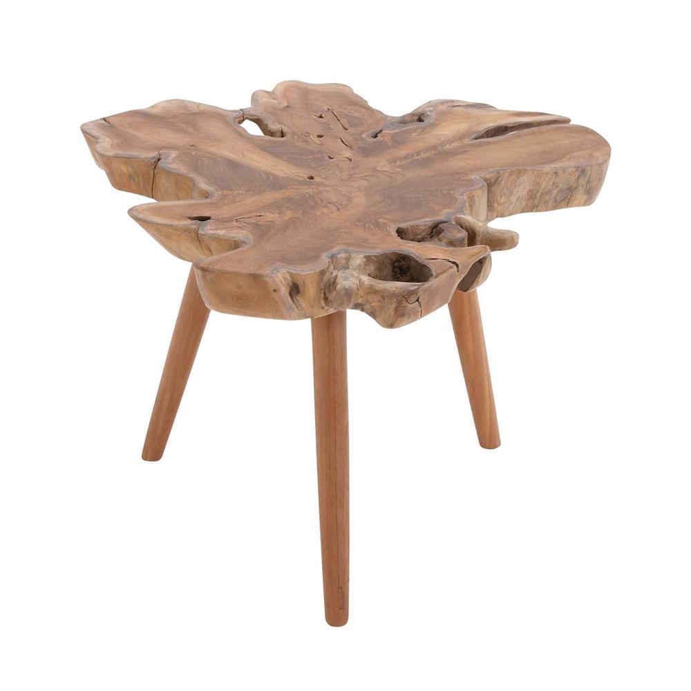 Litton Lane Brown Teak Wood Burl Accent Table with Tripod Legs