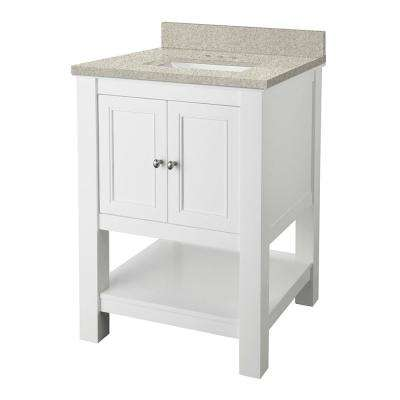 Gazette 25 in. W x 22 in. D Vanity in White with Engineered Marble Vanity Top in Sedona with White Sink
