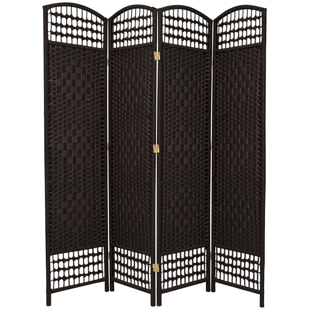 5.5 ft. Black 4-Panel Room Divider