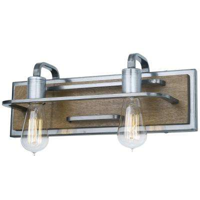 Lofty 2-Light Wheat and Steel Bath Light