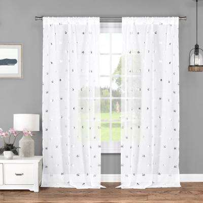 Wally 37 in. x 84 in. L Polyester Metallic Curtain Panel in White-Silver (2-Pack)