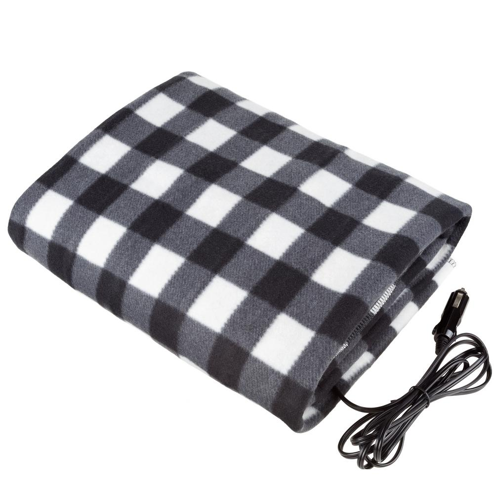 Stalwart Black Plaid Polyester Electric Throw Blanket