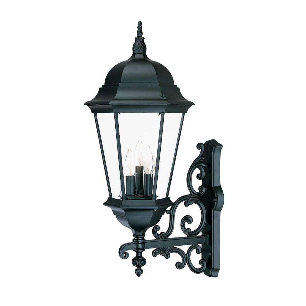 Richmond Collection 3-Light Matte Black Outdoor Wall-Mount Light Fixture