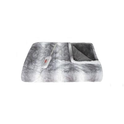 50 in. x 60 in. Faux Fur Grey/White Heated Throw