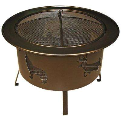 30 in. x 24 in. x 30 in. Round Rolled Steel Wood Wildlife Pattern Fire Pit in Bronze