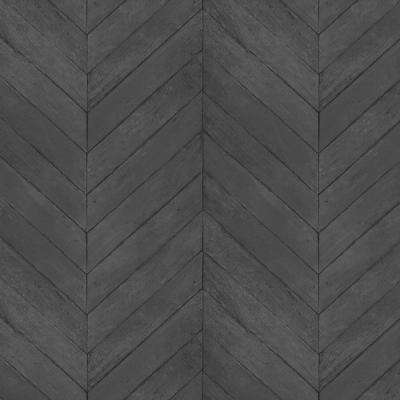 Shades of Black Faux Chevron Wood Wallpaper