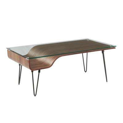 Avery Walnut Wood Coffee Table with Clear Glass Top