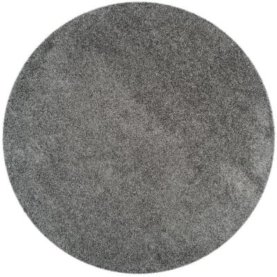 Laguna Shag Dark Gray 7 ft. x 7 ft. Round Area Rug