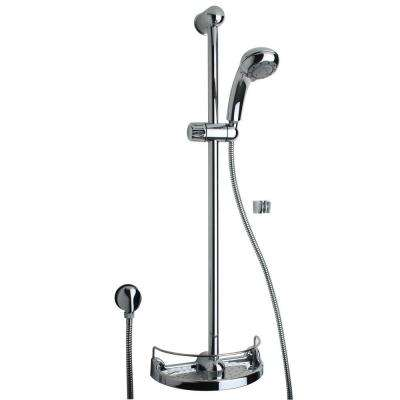 Slide Bar Kit with Shower Head and Soap Holder in Chrome