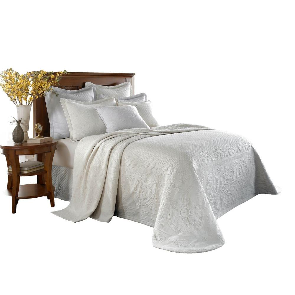 Historic Charleston Collection King Charles White Matelasse Cotton Twin Bedspread