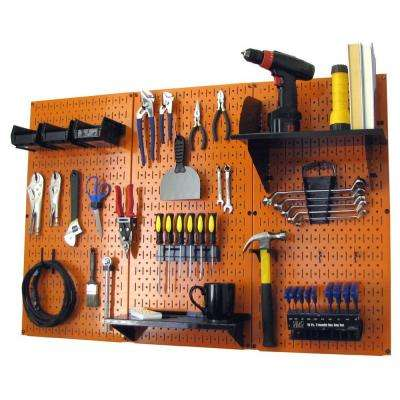 32 in. x 48 in. Metal Pegboard Standard Tool Storage Kit with Orange Pegboard and Black Peg Accessories