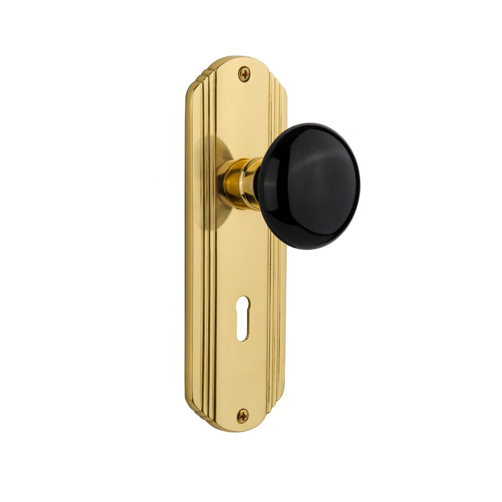 Deco Plate Interior Mortise Black Porcelain Door Knob in Polished Brass