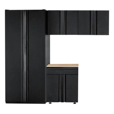 Heavy Duty Welded 92 in. W x 81 in. H x 24 in. D Steel Garage Cabinet Set in Black (4-Piece)
