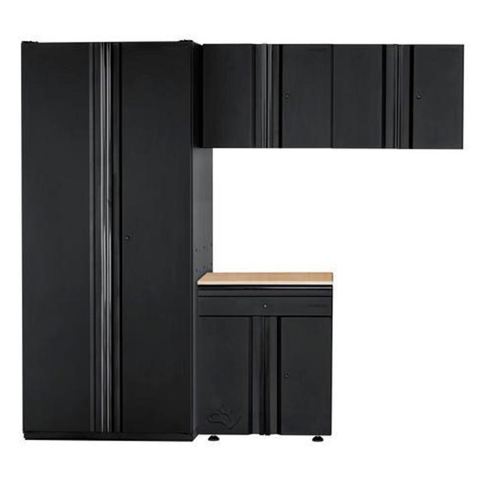 Heavy Duty Welded 92 in. W x 81 in. H x 24 in. D Steel Garage Cabinet Set in Black (4-Piece)