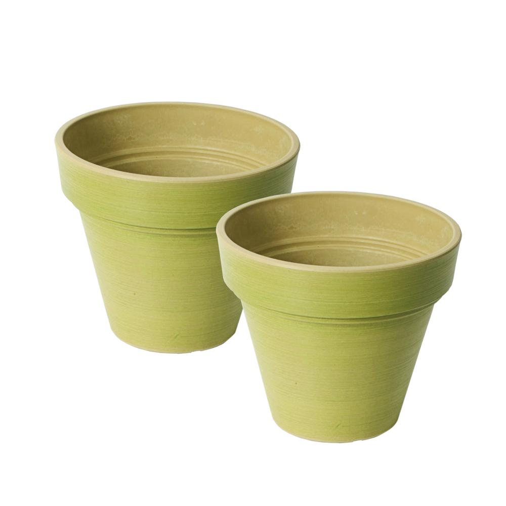 Valencia 8 in. Round Banded Spun Bright Green Polystone Planter (2-Pack)
