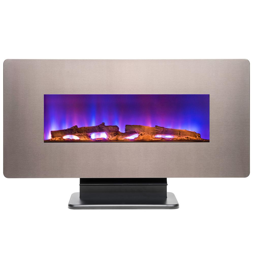 Amazing Akdy 36 In Wall Mount Freestanding Convertible Electric Fireplace Heater In Bonze W Pebbles Logs Crystal Remote Control Download Free Architecture Designs Scobabritishbridgeorg