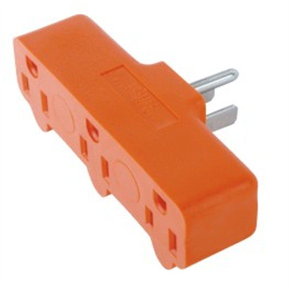 Commercial Electric 15 Amp Heavy Duty Triplex Outlet, Orange