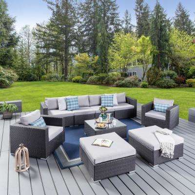 Dominique Gray 9-Piece Wicker Outdoor Sectional Set with Silver Cushions
