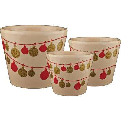 Frost Ornament 6.5 in. Dia, 5.5 in. Dia and 4.5 in. Dia Vanilla Ceramic Pot (Set of 3)