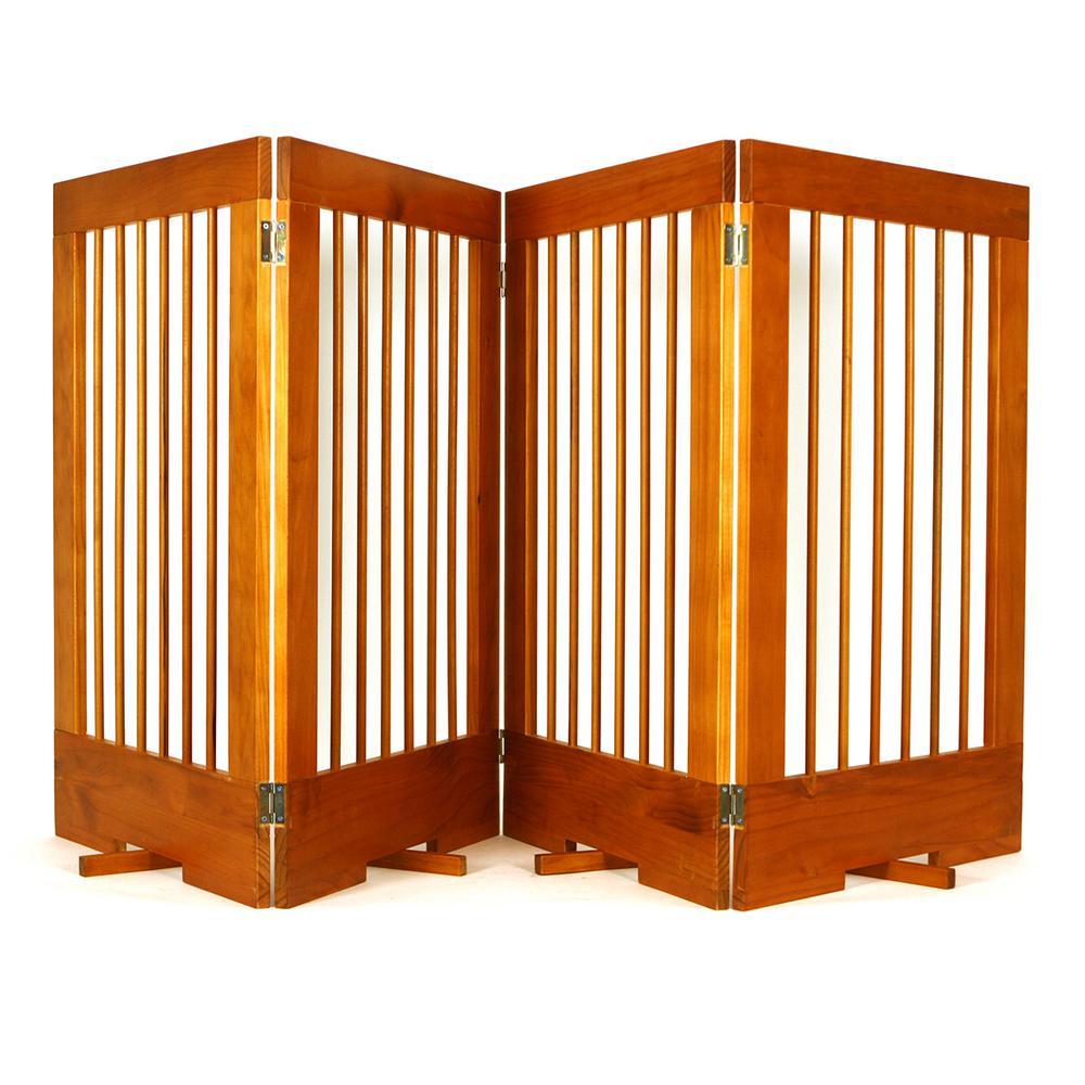 4-Panel Freestanding Pet Gate in Oak