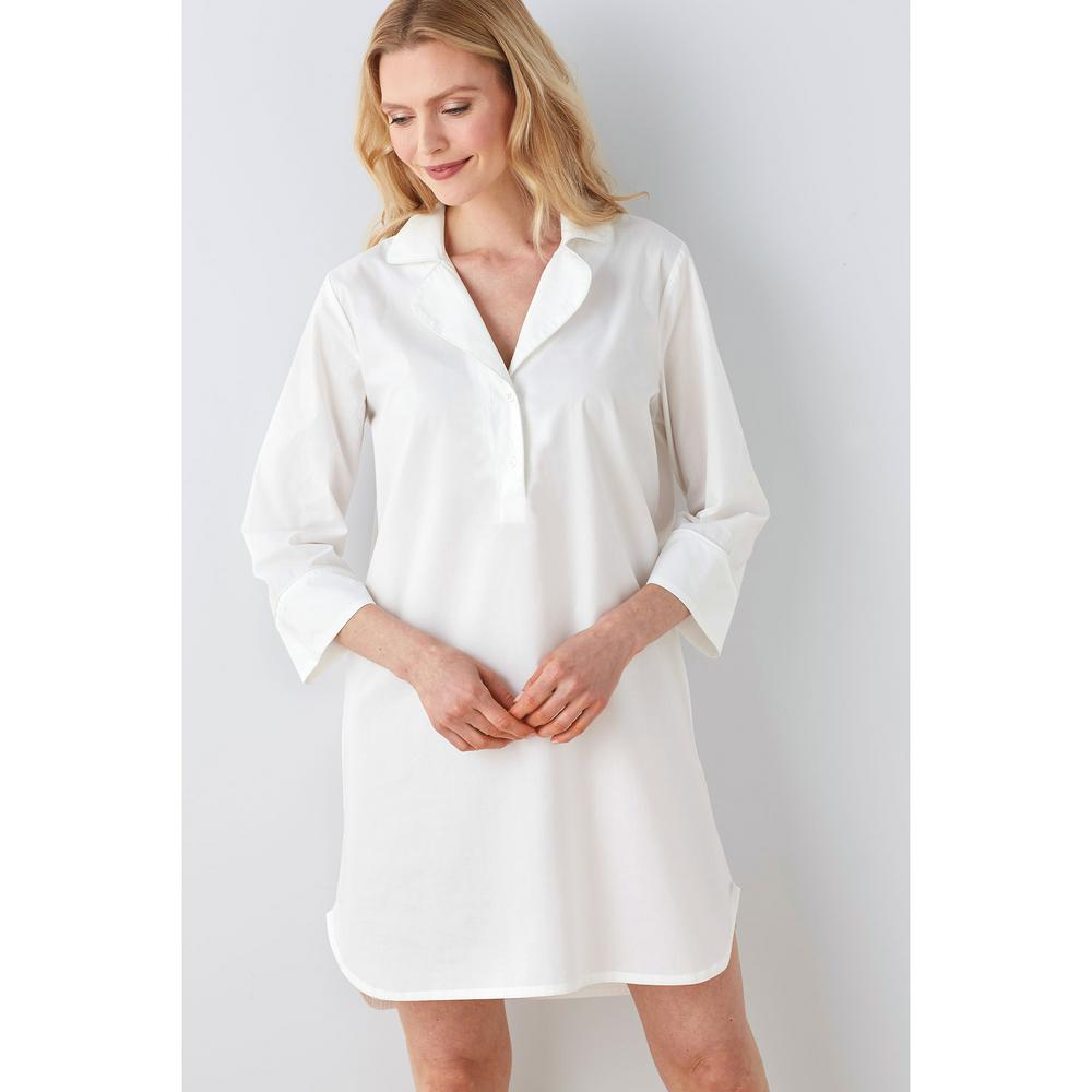 c101fac2c4b5 The Company Store Solid Poplin Cotton Women s Extra Small White Nightshirt