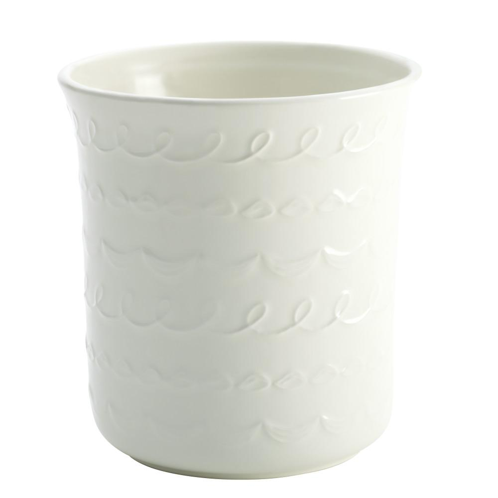 Countertop Accessories Stoneware Tool Crock with Icing Pattern in White