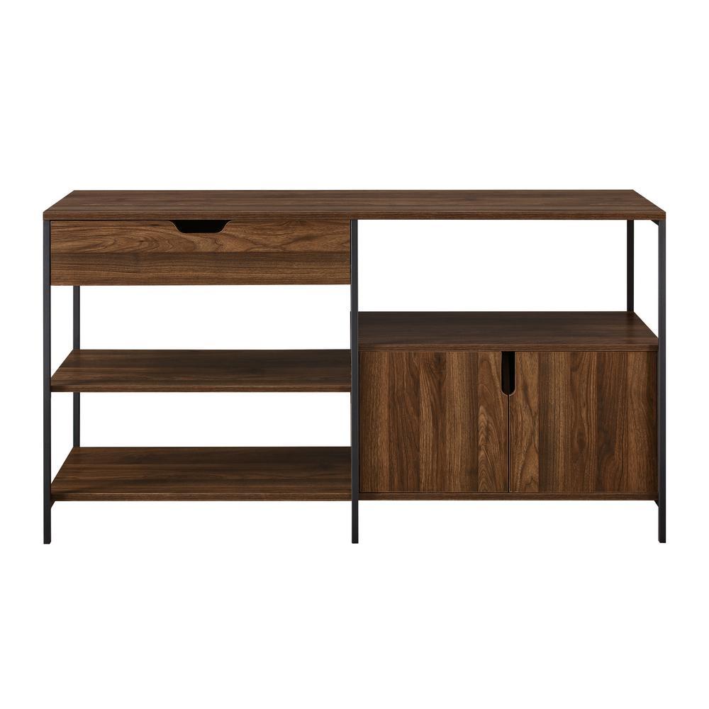 58 in. Dark Walnut 1-Drawer 2-Door Storage Shelf