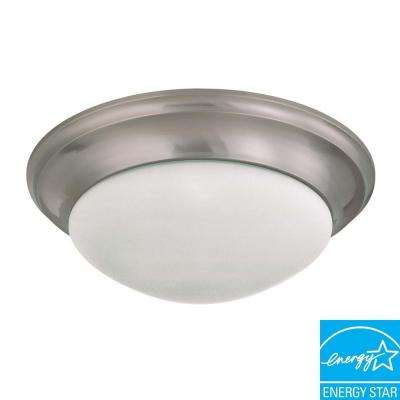 3-Light Flush-Mount Brushed Nickel Fixture