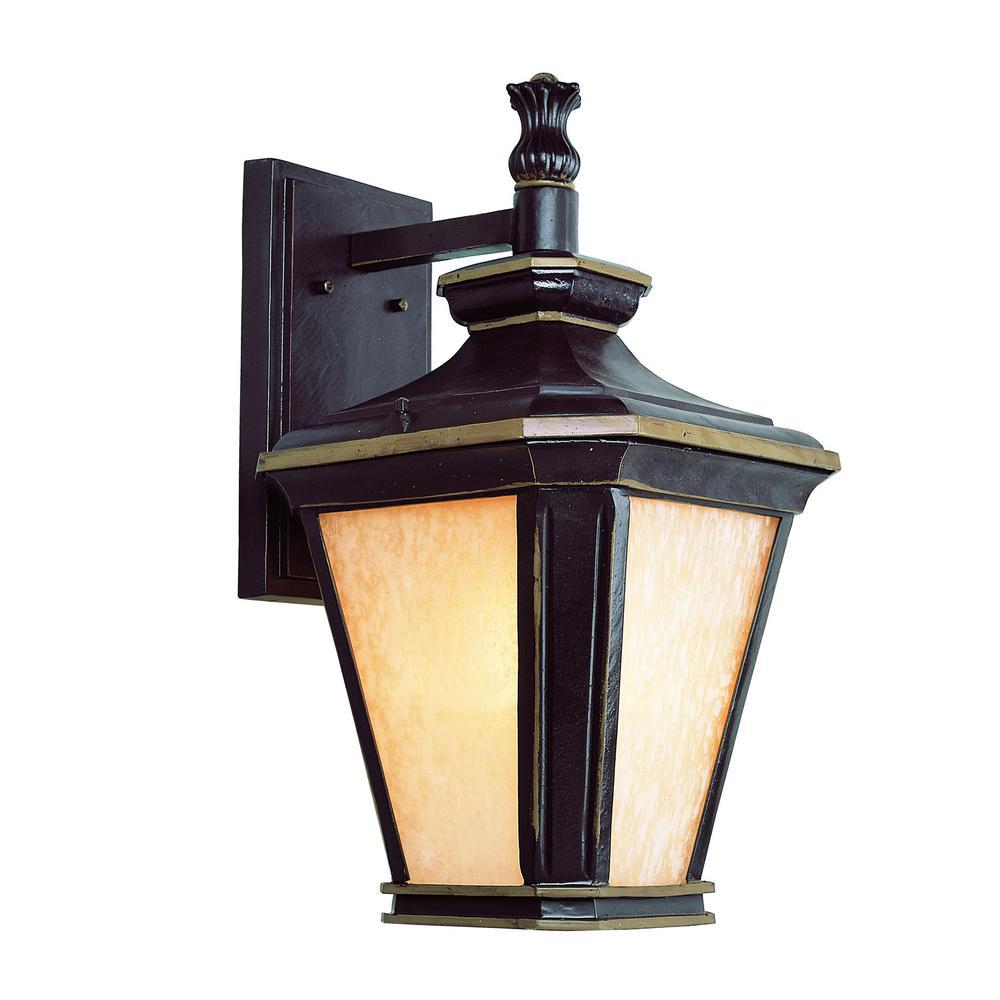 Hampton 1-Light Brown and Gold Outdoor Wall Mount Lantern