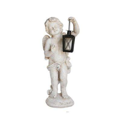 20 in. Cherub Angel with Tealight Lantern Statue