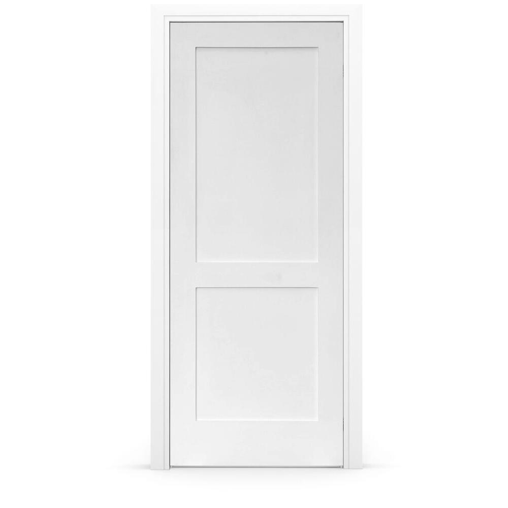 Stile Doors 28 in. x 80 in. Shaker Primed 2-Panel Right-Handed Solid Core MDF Single Prehung Interior Door