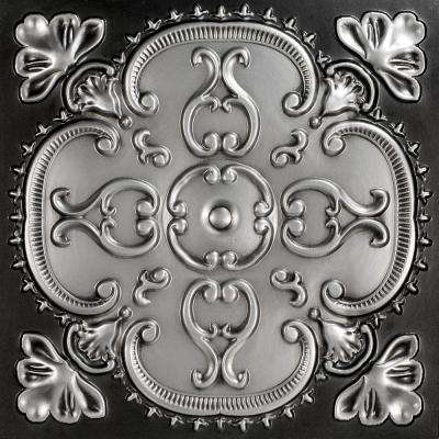 Alhambra 2 ft. x 2 ft. PVC Lay-in or Glue-up Ceiling Tile in Antique Silver (100 sq. ft. / case)