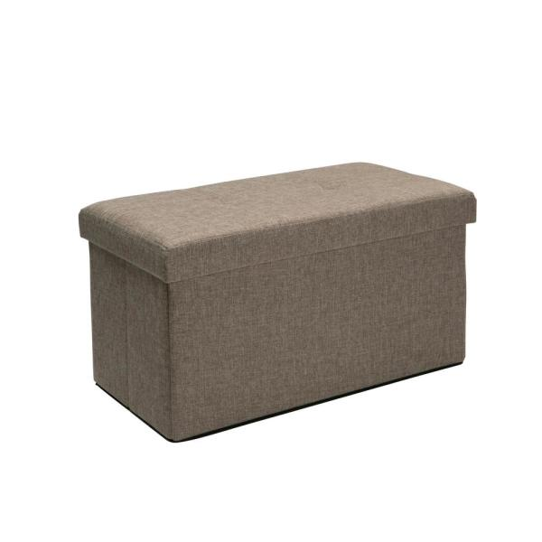 Natural Linen Look Double Folding Ottoman