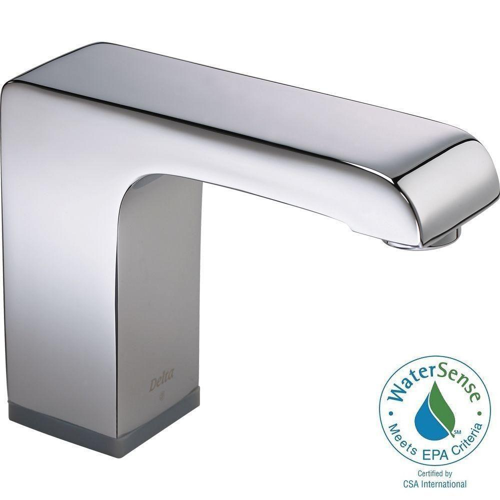 Delta Commercial Hardwired Single Hole Touchless Bathroom Faucet in ...