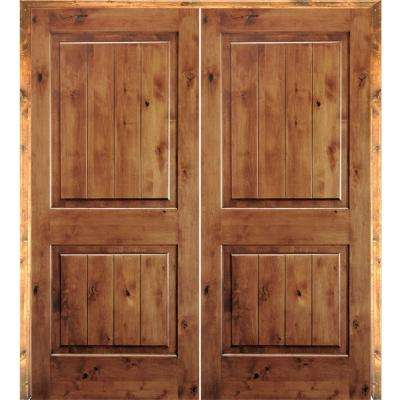48 in. x 80 in. Rustic Knotty Alder 2-Panel Sq-Top w.VG Both Active Solid  Core Wood Double Prehung Interior French Door