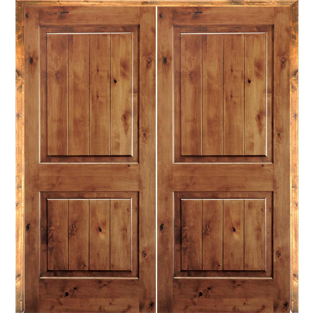 Krosswood Doors 72 in. x 80 in. Rustic Knotty Alder 2-Panel Sq-Top on