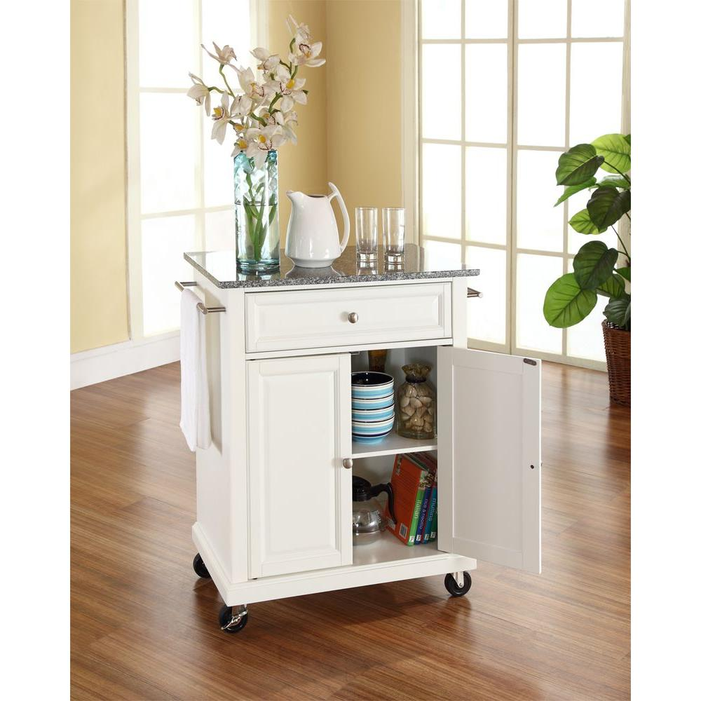 Crosley White Kitchen Cart With Granite Top