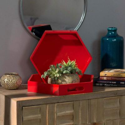"""16.5"""" L x 14.25"""" W x 2.5"""" H Sturdy Hexagon Red Serving Tray with Cutout Handles (Set of 2)"""
