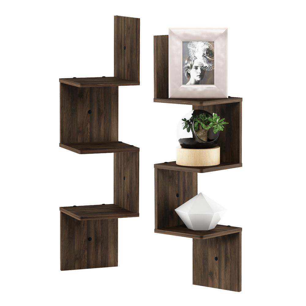 3 Tier Columbia Walnut Wall Mount Floating Corner Square Shelf (Set