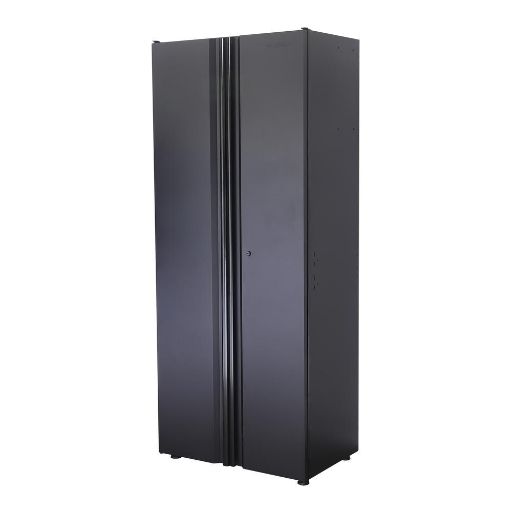 Welded 31 in. W x 75 in. H x 20 in. D 24-Gauge Free Standing Tall Steel Garage Cabinet in Black