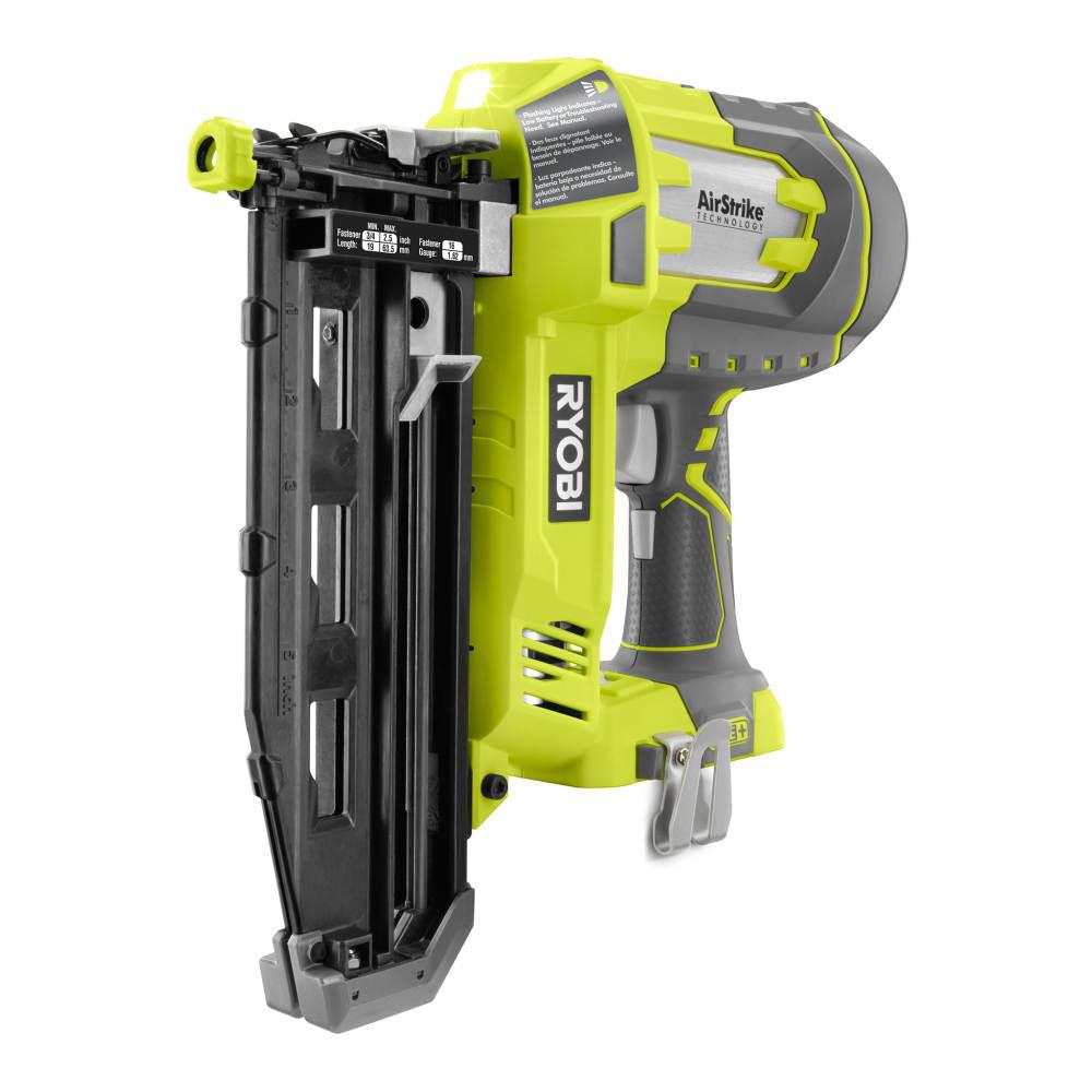 Ryobi 18 Volt One Lithium Ion Cordless Airstrike 16 Gauge Cordless Straight Finish Nailer Tool Only With Sample Nails