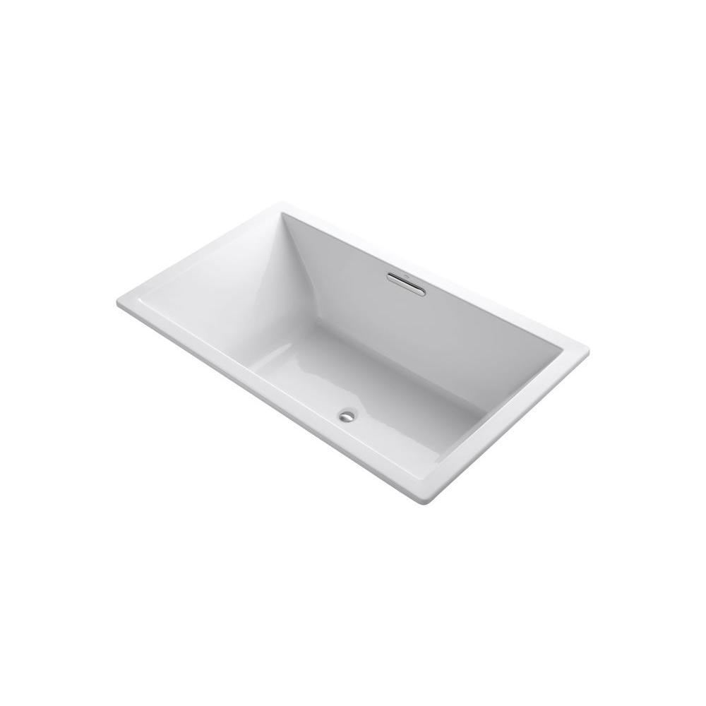 KOHLER UnderScore 6 ft. Rectangle Center Drain Bathtub in White