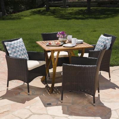 Kensley 5-Piece Wood and Wicker Square Outdoor Dining Set with Beige Cushion